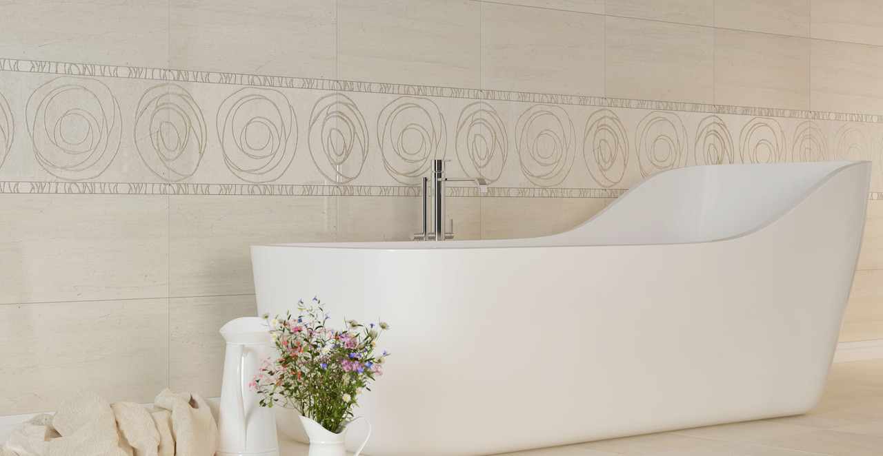Плитка для стін Crema Marfil Orion бежевий фриз 300x60x9 мм