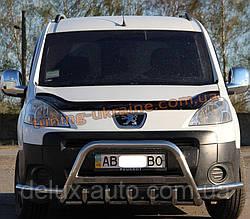 Защита переднего бампера кенгурятник с надписью  из нержавейки на Peugeot Partner 2008