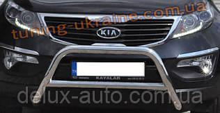 Защита переднего бампера кенгурятник из нержавейки на Land Rover Discovery 2004-2009