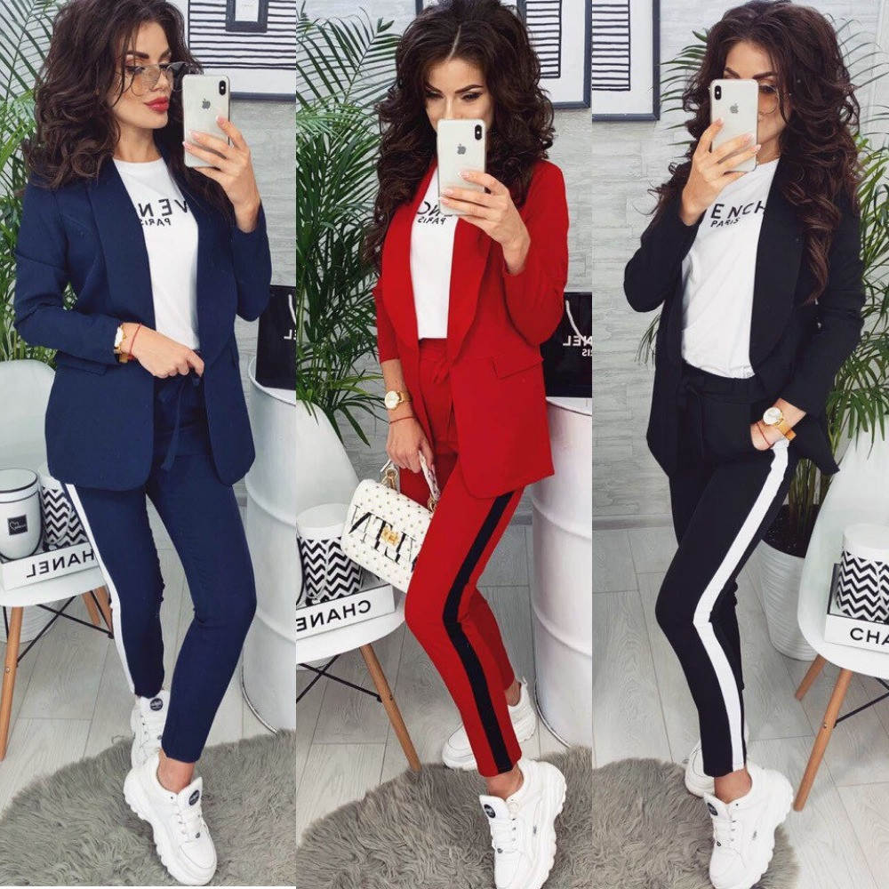 Костюм женский брючный, с лампасами, стильный, повседневный, офисный, деловой, брюки с карманами