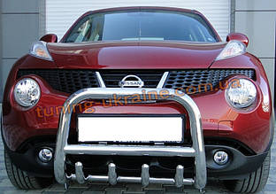 Защита переднего бампера кенгурятник из нержавейки на Nissan Juke 2010-2014