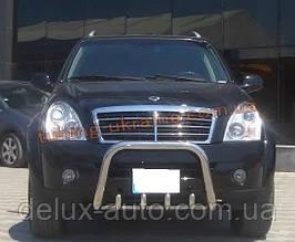 Защита переднего бампера кенгурятник из нержавейки на SsangYong Rexton 2006-2012