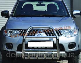 Защита переднего бампера кенгурятник из нержавейки на Hyundai Santa Fe 2000-2006