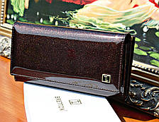 Женский кошелек BRETTON лаковый, Натуральная Кожа Dark Coffee