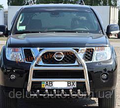 Защита переднего бампера кенгурятник из нержавейки на Nissan Pathfinder 2005-2010
