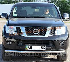 Защита переднего бампера труба одинарная из нержавейки на Nissan Pathfinder 2005-2010