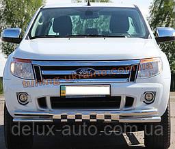 Дуга двойная передняя с клыками из нержавейки на Ford Ranger 2011-2015