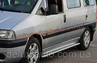 Боковые пороги площадка труба с листом из нержавейки на Fiat Scudo 1996-2006 Long