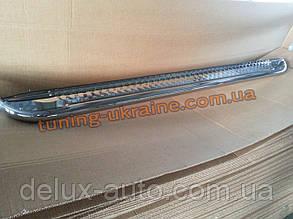 Боковые пороги площадка труба с листом из нержавейки на Ford Transit Custom 2012 Long
