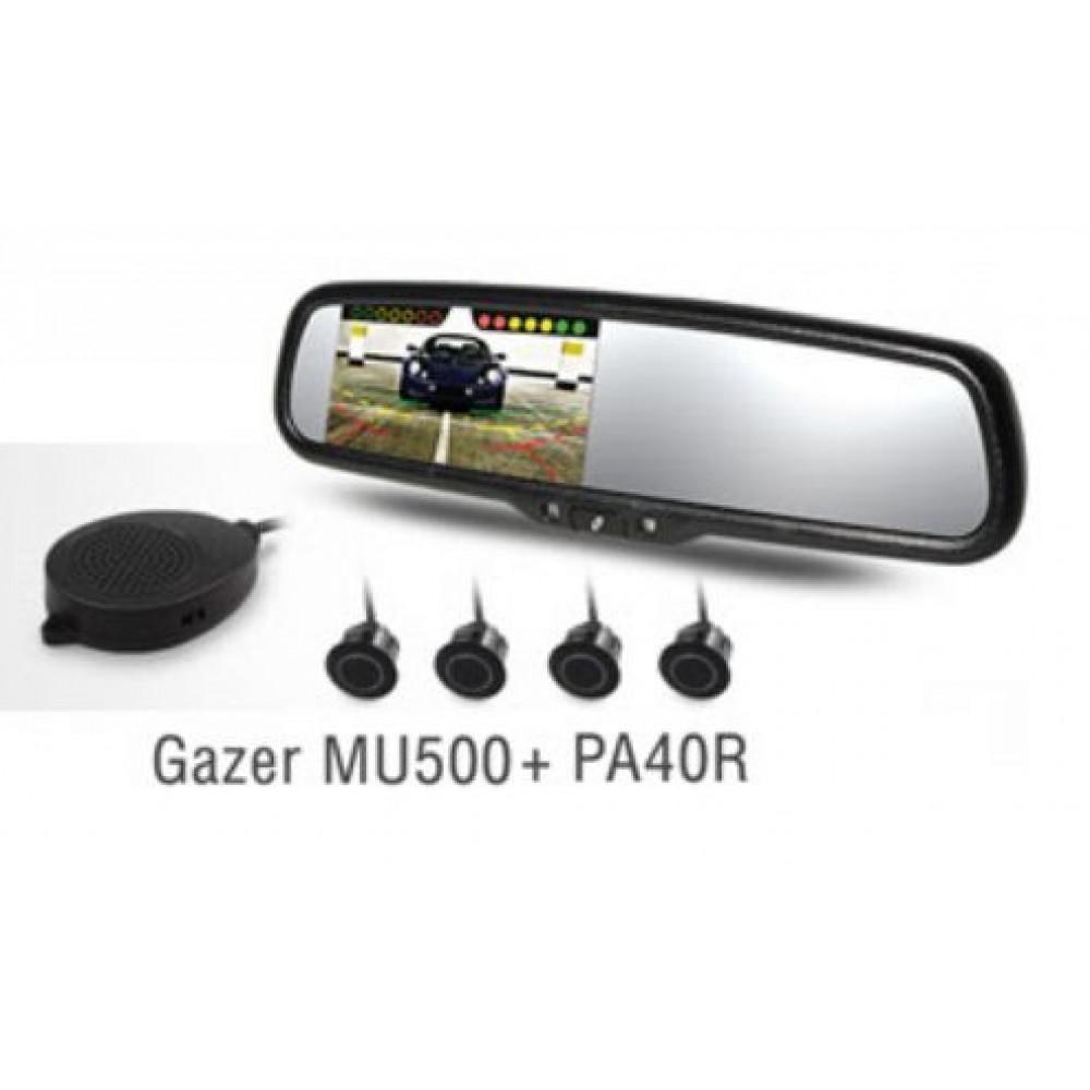 Комплект зеркало c монитором Gazer MU500 + парктроник PA40R
