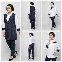 Классический женский костюм тройка: жилет, брюки, блуза,полуприлегающего силуэта р.50,60 код 2156М