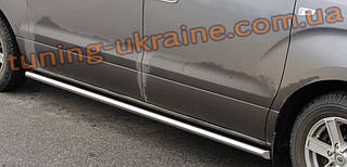 Боковые пороги трубы из нержавейки на Ford Transit Custom 2012 Middle