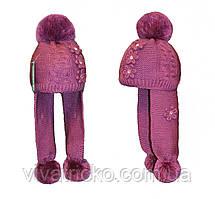 Шапка для девочки с ушками р 3-10 лет м 9153, разные цвета
