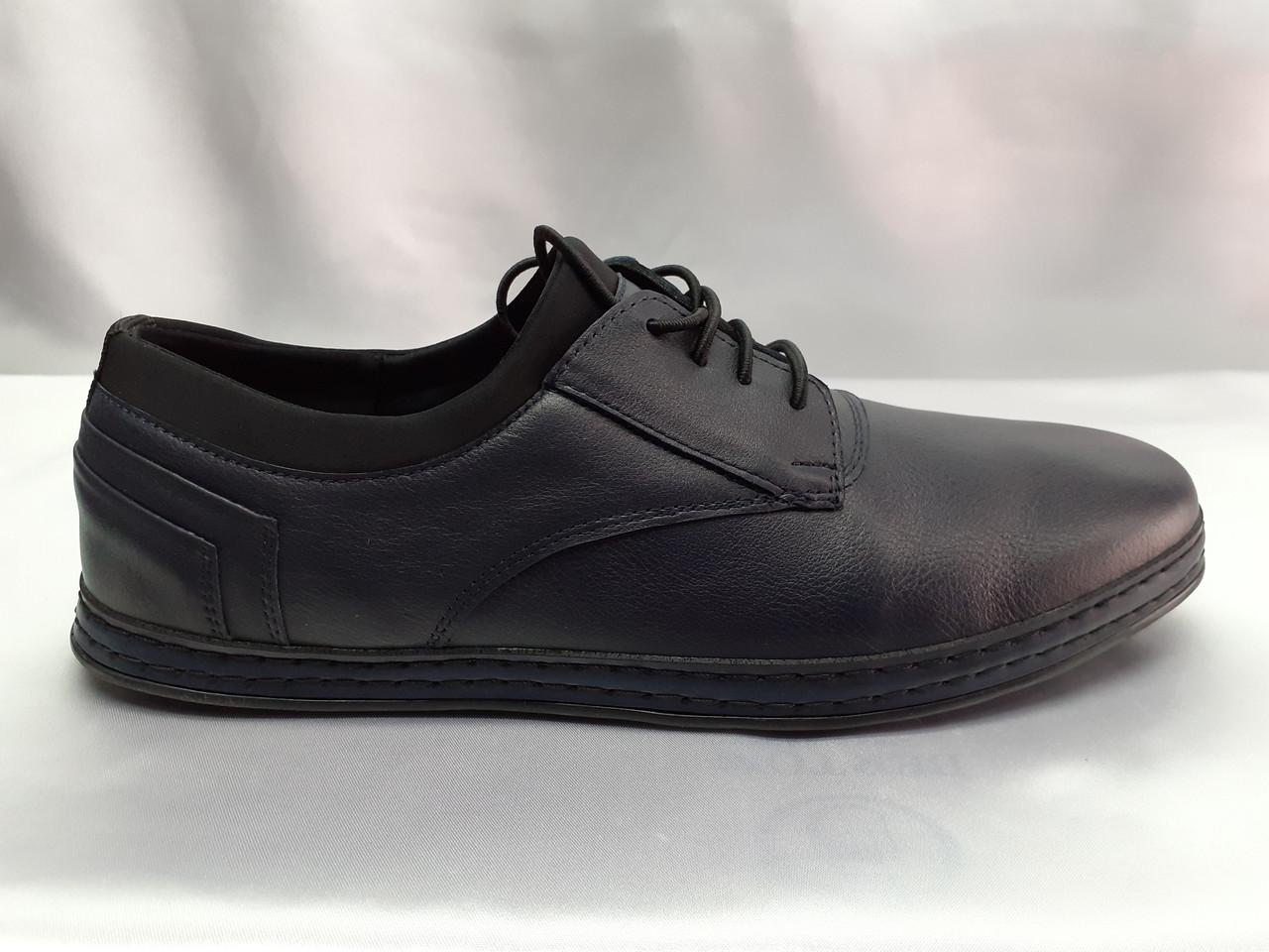 Шкіряні сині комфортні туфлі на шнурках Rondo
