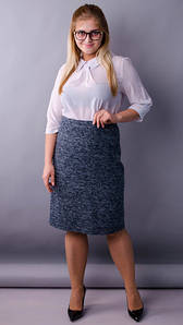 Пион букле. Офисная юбка больших размеров. Синий,серый