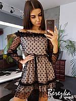 Платье с оборками и открытыми плечами, фото 1