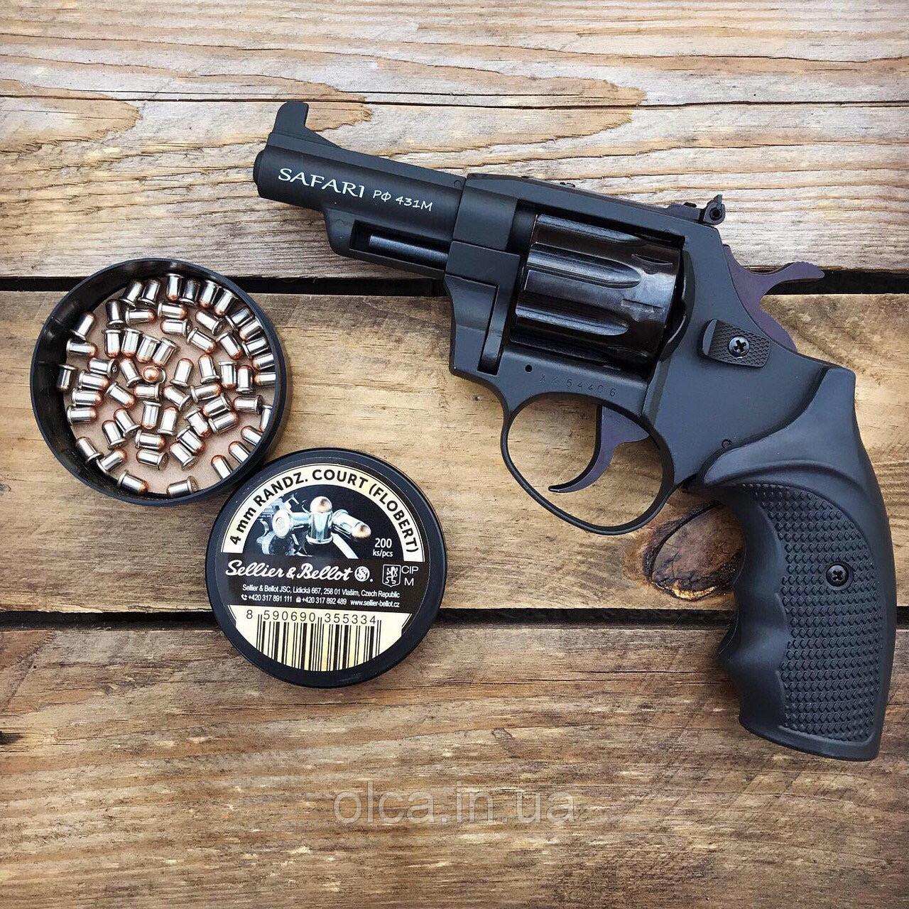Револьвер ЛАТЭК Safari РФ-431М + 50 патронов флобер 4 мм (чер. пластик)