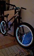 Подсветка колес велосипеда—цвет белый. Холодным гибким неоном 5.0мм.