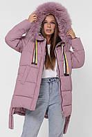 Модная Зимняя Куртка Короткая с Удлиненной Спинкой Пыльная Роза р.42-р.52
