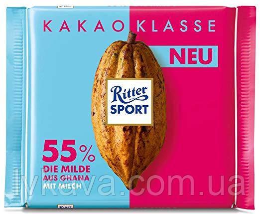Черный шоколад  Ritter Sport 55 % какао из Ганы , 100 гр