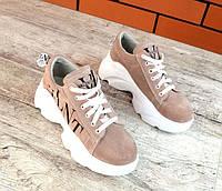 Замшевые кроссовки женские VLNT пудра TOPs1829