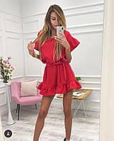 Красное короткое платье свободное с пышной юбкой