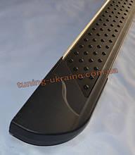 Боковые площадки из алюминия Allmond Black для Nissan Navara 2005-2009
