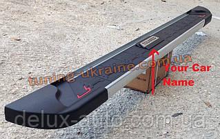 Боковые площадки из алюминия RedLine V2 с надписью для Nissan Navara 2005-2009