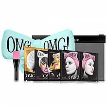 """Подарочный набор """"Spa"""" из 4 комплексов масок, кисти и мятного банта-повязки  Double Dare Omg!"""