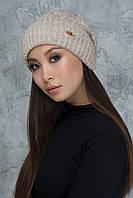 Вязаная шапочка с защипом Жанет светло-бежевая