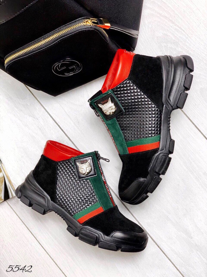 Ботинки демисезон gucci чёрные комби ( качество Lux).натуральная кожа 38 размер