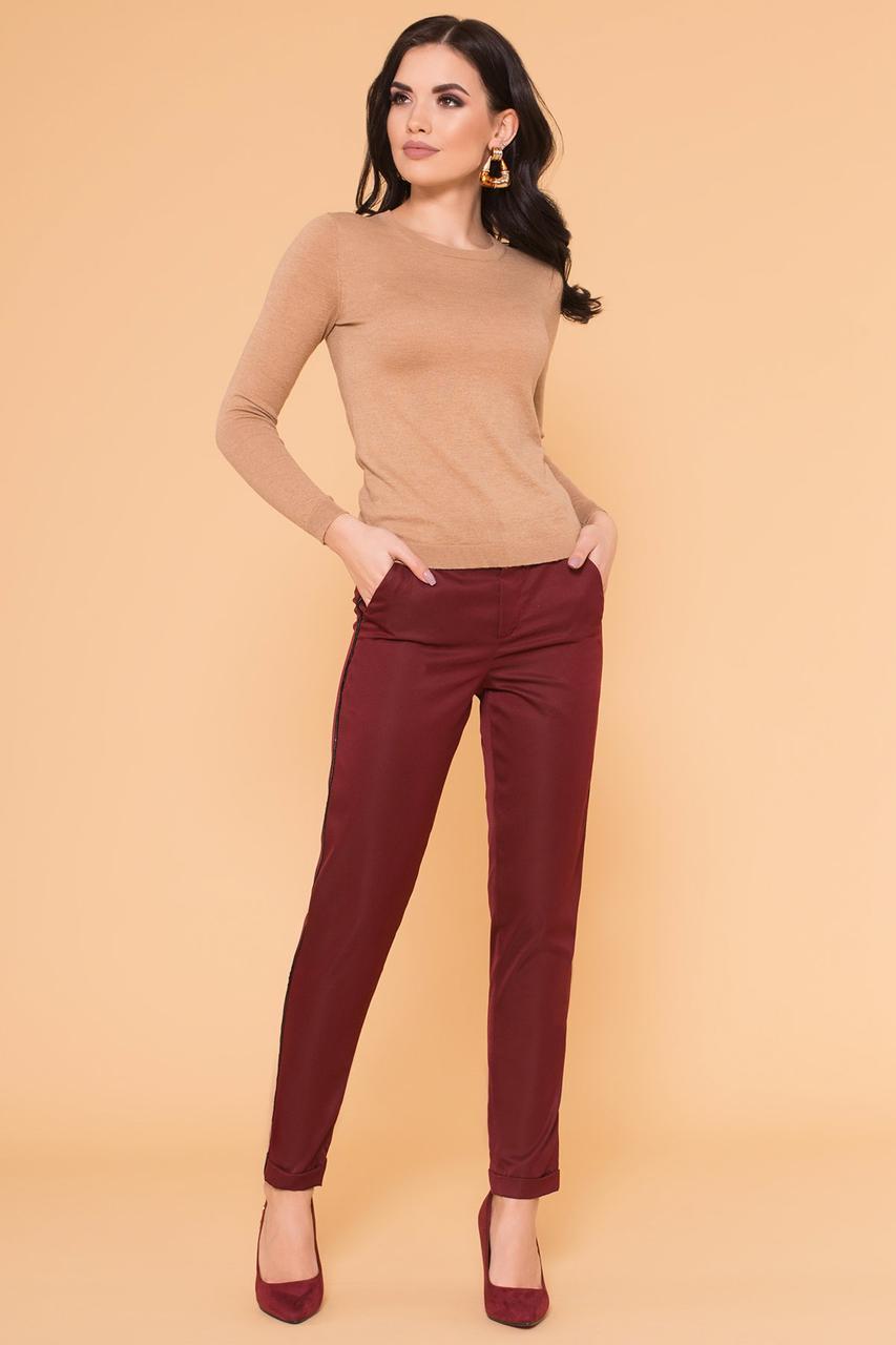 Зауженные женские брюки с лампасами (XS, S, M) марсала