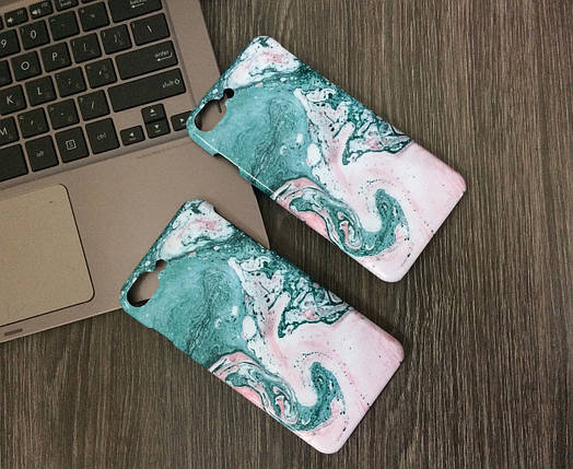 Плаcтиковый чехол для iPhone 7 Plus / 8 Plus белый с синими разводами, фото 2