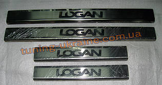 Хром накладки на пороги надпись гравировкой для Dacia Logan 2006-2013