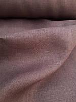 Льняная костюмная ткань темно - коричневого цвета, фото 1