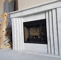 Современный камин из белого мрамора, фото 1