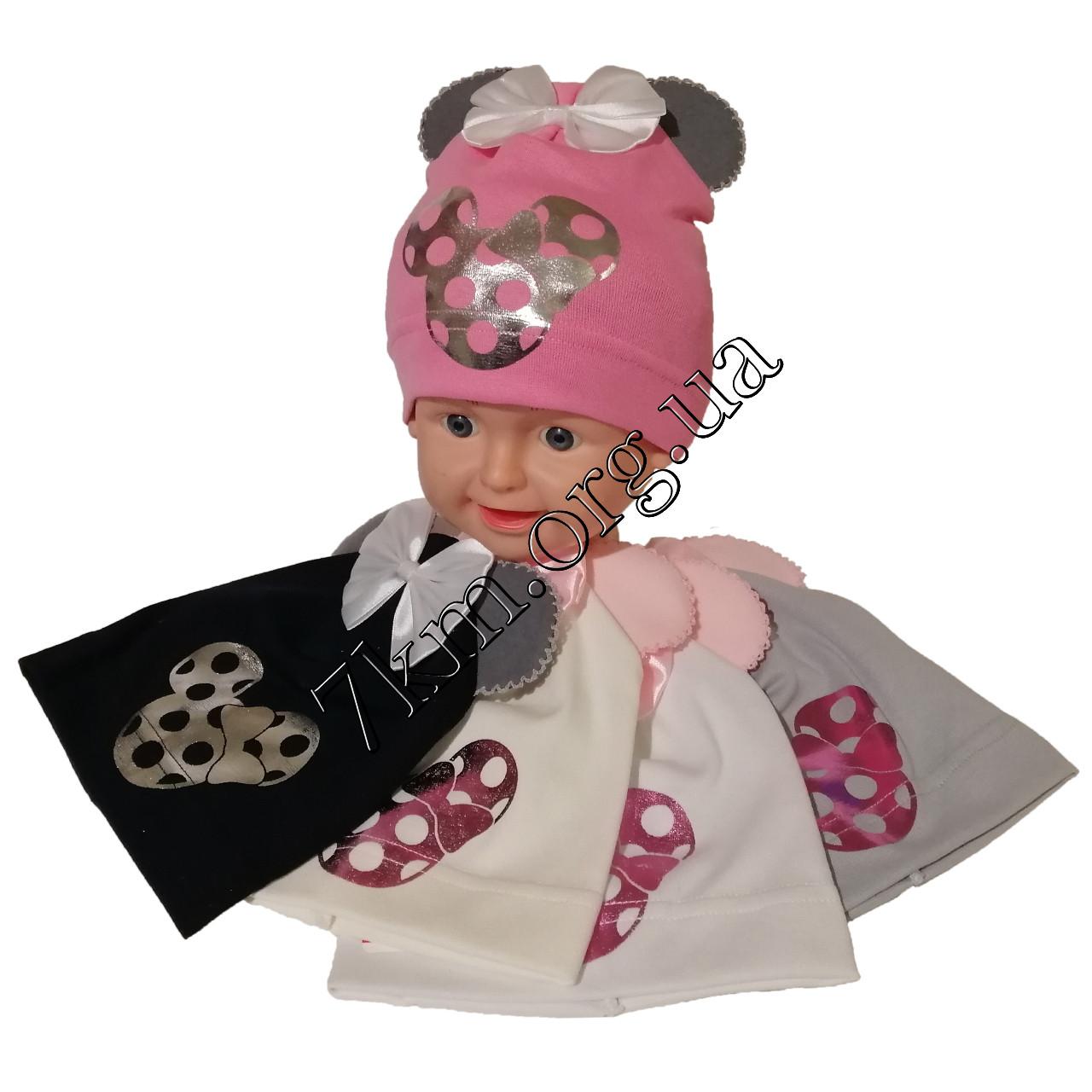 """Шапка +ушки детская одинарный трикотаж для девочек """"Маус"""" 2-4 года Польша Оптом 7611"""