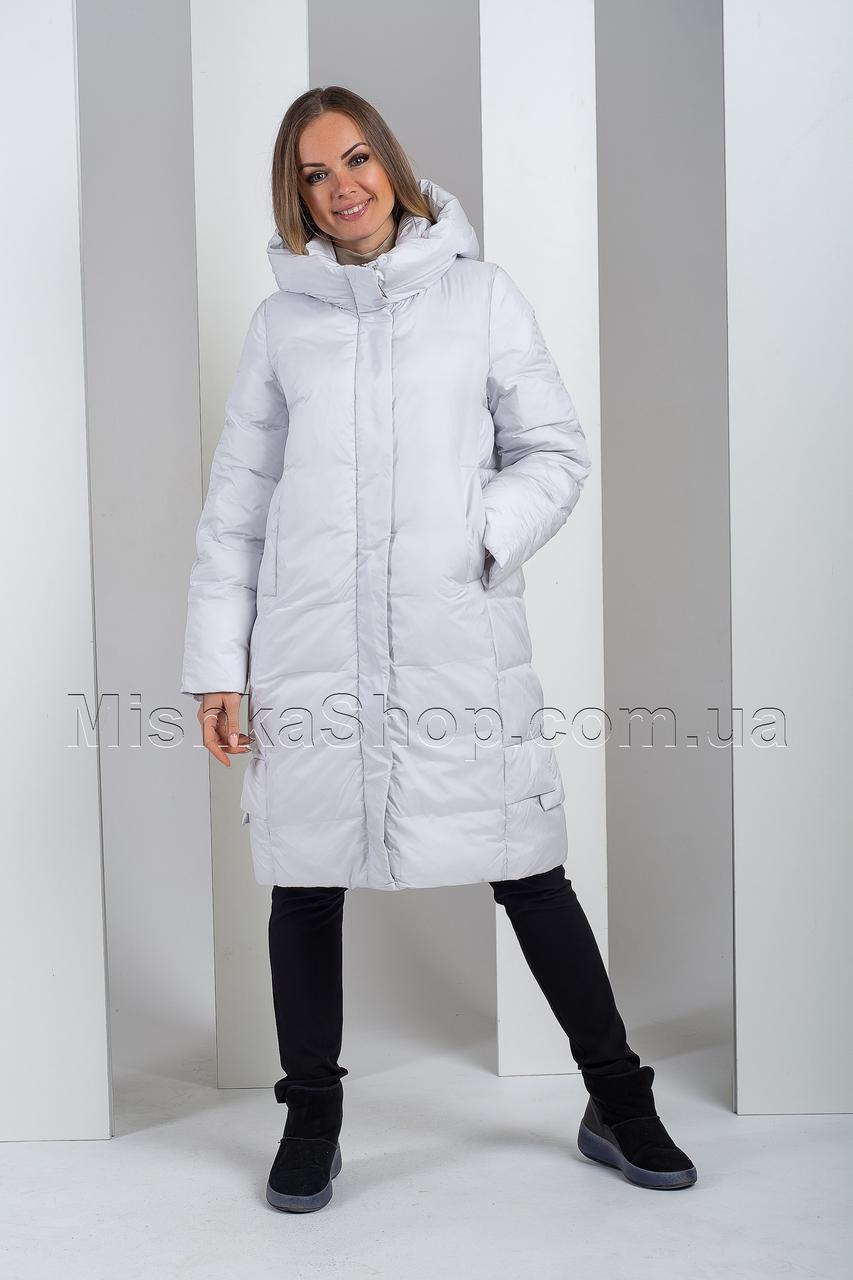Модный зимний пуховик дымчатого цвета Hannan Liuni 3303
