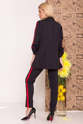 Женский брючный костюм двойка пиджак и брюки (S, M, L) черный, фото 2