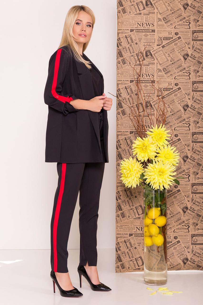 Женский брючный костюм двойка пиджак и брюки (S, M, L) черный