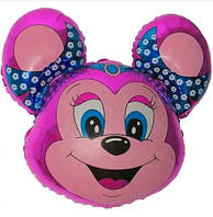 Фольгированный шар Мышка с ободками 68см х 76см Малиновый