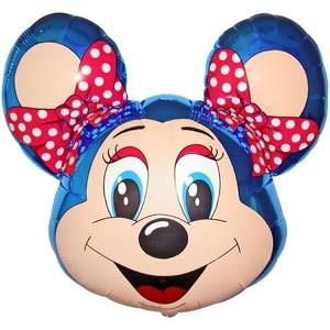 Фольгированный шар Мышка с ободком 68см х 76см Голубой
