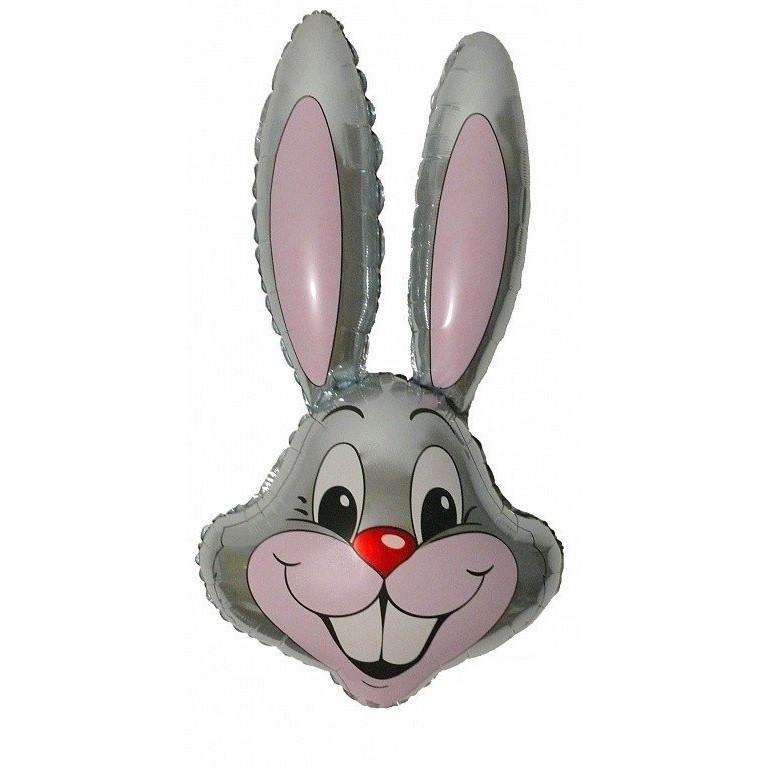 Фольгированный шар Кролик 90см х 58см Серый