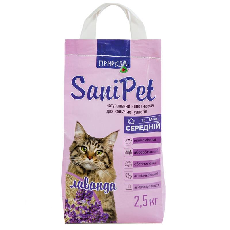 Наполнитель бентонитовый SANI PET средний с лавандой 2,5 кг