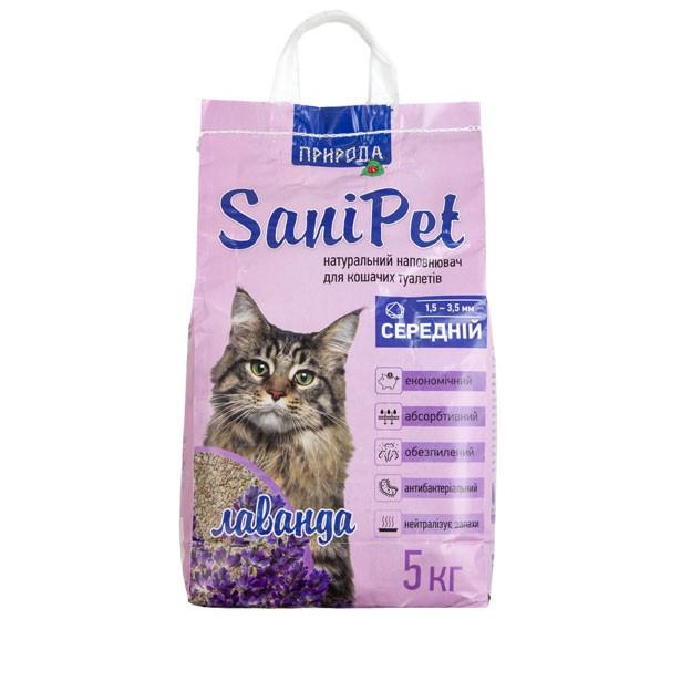 Наполнитель бентонитовый SANI PET средний с лавандой 5 кг