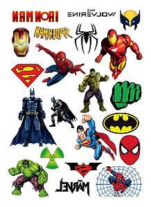 Временные тату Супергерои Вселенной Марвел и DC 21 штука набор 2