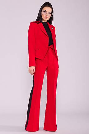 Женский брючный костюм двойка приталенный пиджак и расклешенные брюки (S, M, L) красный, фото 2