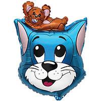 Фольгированный шар Кот с мышонком 69см х 48см Голубой