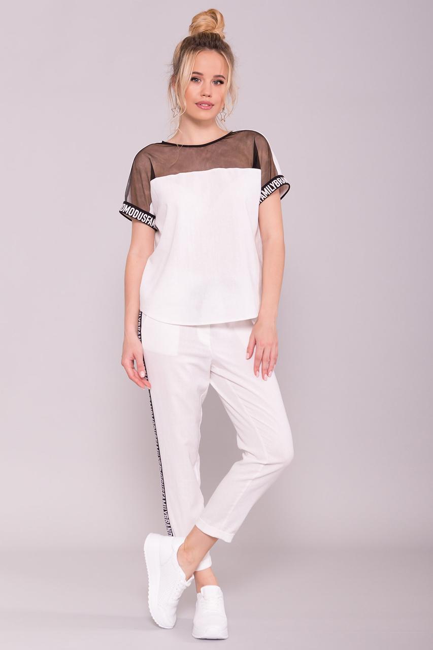 Стильный и необычный костюм двойка брюки и блуза (S, M, L, XL) белый