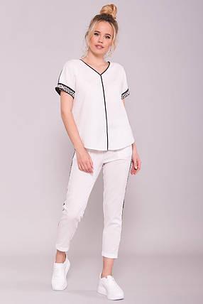 Стильный и необычный костюм двойка брюки и блуза (S, M, L, XL) белый, фото 2